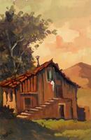 Quadro di Firma Illeggibile  la casa vicino al tramonto