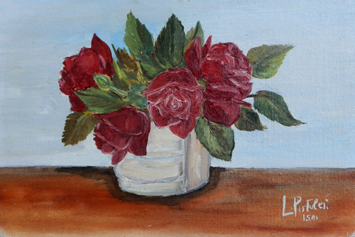 Art work by L. Pistolei Rose - oil canvas cardboard