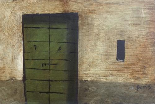 Quadro di Deanna Borchi La porta verde - olio faesite