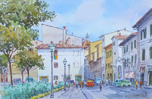 Art work by Giovanni Ospitali Firenze,Piazza Tasso - watercolor paper