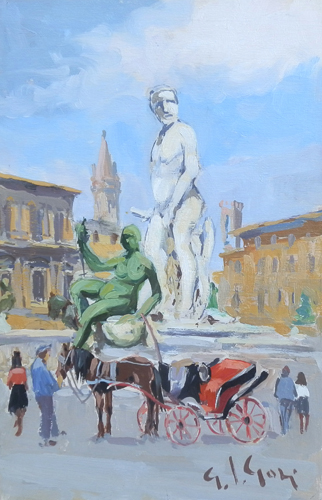 Art work by Gino Paolo Gori Firenze,Piazza Signoria - oil table