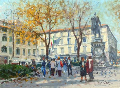 Quadro di Graziano Marsili Piazza San Marco - Firenze - olio cartone telato