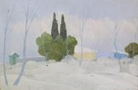 Quadro di  Innocenti  paesaggio  invernale