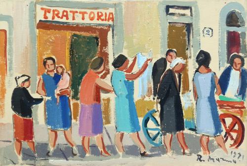Quadro di Rodolfo Marma Angolo di mercato - olio tavola