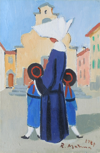 Art work by Rodolfo Marma Monachina a Santo Spirito - oil canvas cardboard