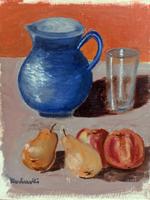 Quadro di  Bucherelli - Brocca blu olio cartone telato