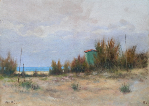 Art work by Tullio Bartoli Spiaggia - oil cardboard