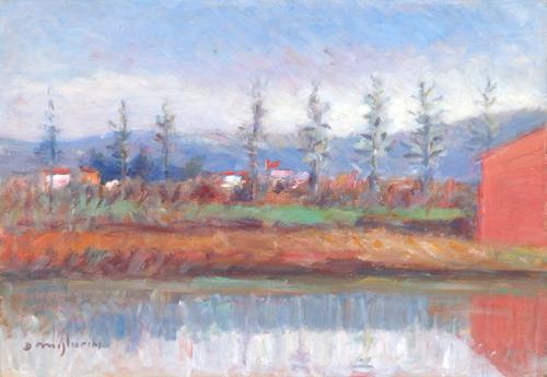 Quadro di Dino Migliorini Paesaggio con riflesso - olio cartone
