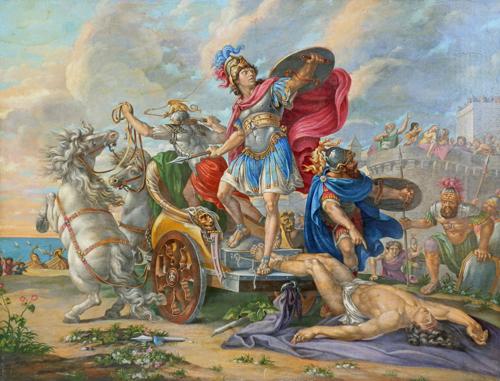 Quadro di  Anonimo Il trionfo di Achille su Ettore omaggio a Giorgio de Chirico - olio tavola