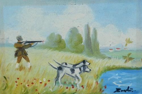 Art work by firma Illeggibile Cacciatore - oil hardboard