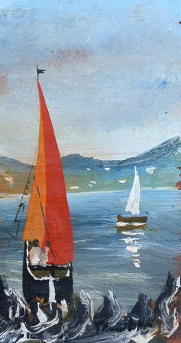 Quadro di  Parziale Barche - olio tavola