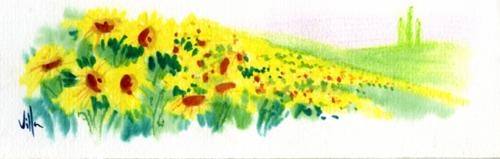 Quadro di Roberto Lopez Fuentevilla Girassoli - acquerello carta
