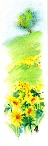 Quadro di Roberto Lopez Fuentevilla Paesaggio - acquerello carta