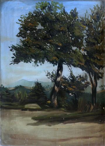 Quadro di  Anonimo Paesaggio con albero - olio faesite
