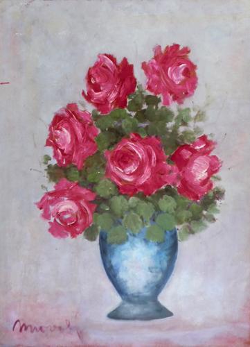 Art work by firma Illeggibile Vaso di fiori - oil hardboard