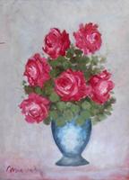 Quadro di firma Illeggibile - Vaso di fiori olio faesite
