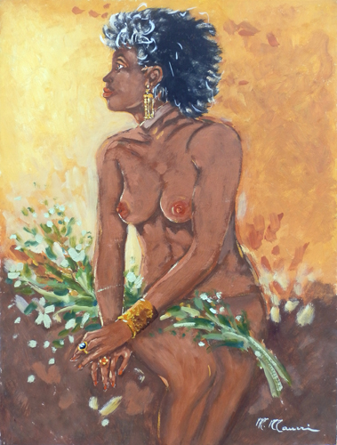 Art work by M. Maurri Nudo con fiori - oil hardboard