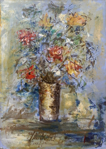 Art work by Giuseppe Innocenti Vaso di fiori - oil canvas cardboard