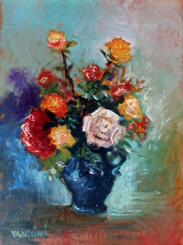 Quadro di  Vannini Vaso di fiori - olio faesite