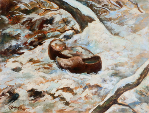 Art work by  Bruzzone Scarpe sulla neve - varnish table