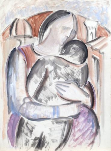 Quadro di Giorgio Polykratis Maternità - Pittori contemporanei galleria Firenze Art