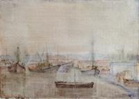 Quadro di Gianfranco Bosi - Barche ormeggiate al porto affresco tavola