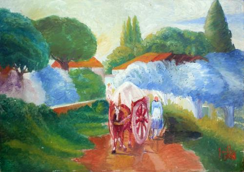 Art work by firma Illeggibile Paesaggio e carro - oil hardboard