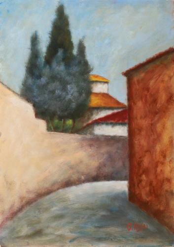 Art work by  Copie d'Autore Via San Leonardo - oil cardboard