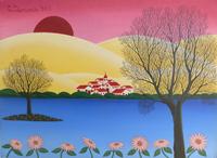 Quadro di T. Demaria - Il paese al tramonto olio tela