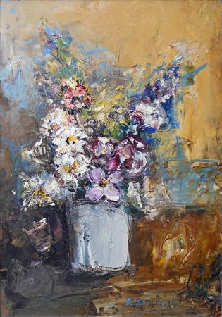 Quadro di Sergio Scatizzi Vaso di fiori - olio cartone telato