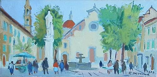 Quadro di Rodolfo Marma Piazza Santo Spirito - olio cartone telato