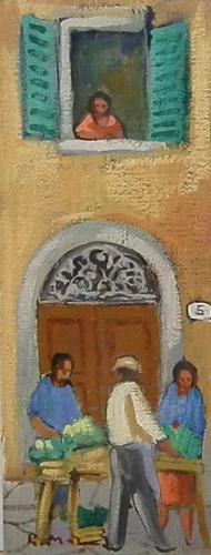 Quadro di Rodolfo Marma Angolo di mercato - olio cartone