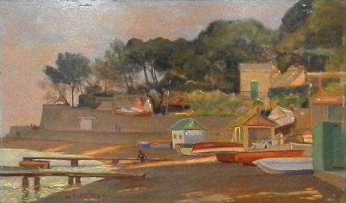 Quadro di Stefano Bottosso Moletto a Castiglioncello - olio tavola