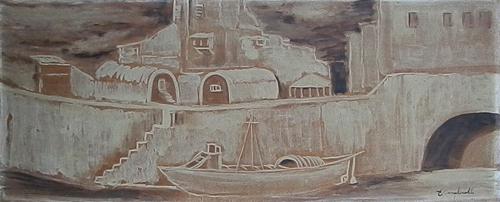 Art work by Emilio Malenotti Paesaggio - oil hardboard