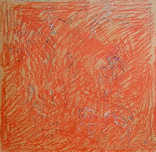 Art work by Bruno (Bob) Borghesi Composizione in rosso - pastel hardboard