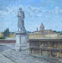 Quadro di Graziano Marsili  Piazza Goldoni a Firenze
