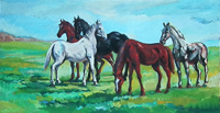 Quadro di Luigi Pignataro - Cavalli olio faesite