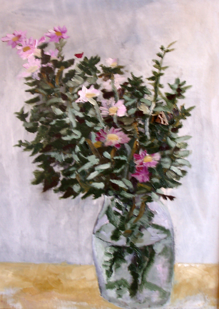 Art work by Renzo Grazzini Vaso con Fiori - oil table