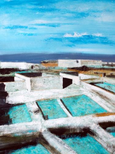 Quadro di Salvatore Magazzini Paesaggio - olio cartone