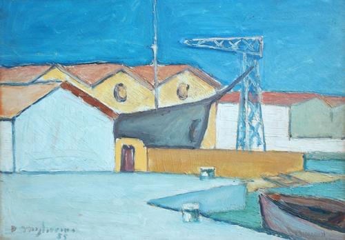 Art work by Dino Migliorini Cantiere navale di Viareggio - oil table