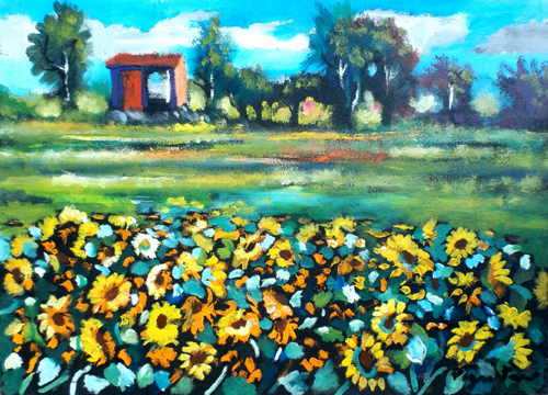 Art work by Luigi Pignataro Campo di girasoli - oil table