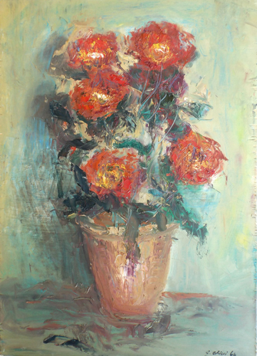 Art work by G. Chisci Vaso con fiori - oil table