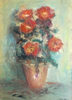 Quadro di G. Chisci - Vaso con fiori olio tavola