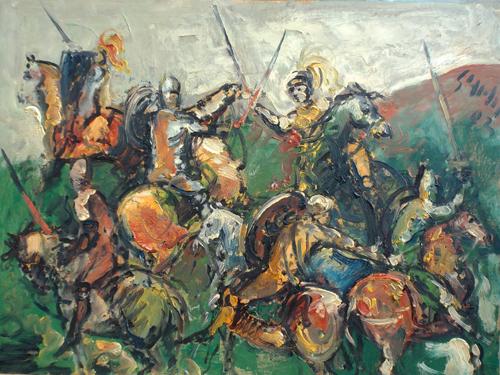 Quadro di Emanuele Cappello Battaglia - olio tavola