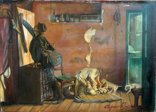 Quadro di Renato Caponi Il cacciatore - olio tavola