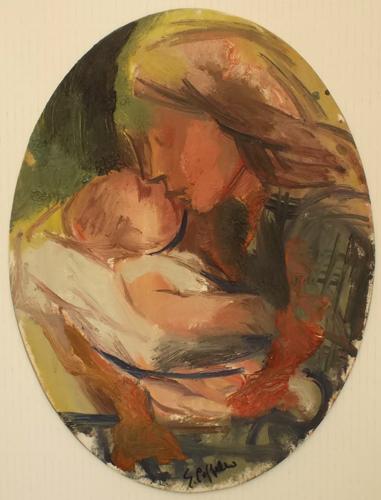 Quadro di Emanuele Cappello Maternità - olio cartone