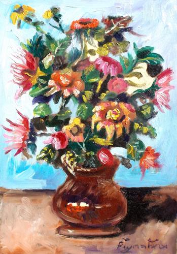 Quadro di Luigi Pignataro Vaso con fiori - olio tavola