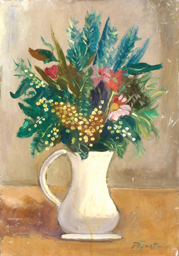 Quadro di Luigi Pignataro Vaso con fiori - olio cartone