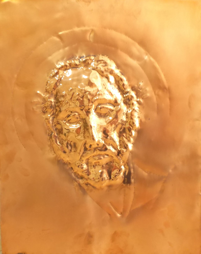 Art work by Luigi Pignataro Cristo - sculpture copper