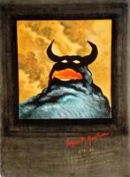 Quadro di firma Illeggibile - Il toro olio cartone